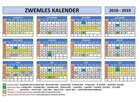overzicht in schooljaar kalender vorm 2018-2019